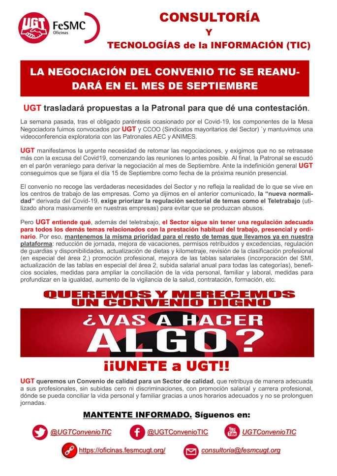 Comunicado UGT Convenio XVIII nº 4 Redes
